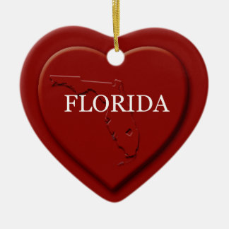 Florida Heart Map Christmas Ornament