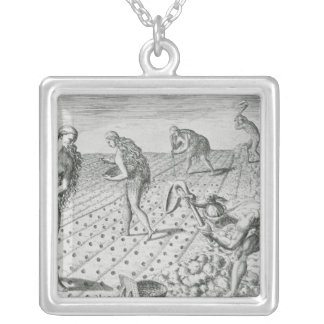 Florida Indians planting maize Silver Plated Necklace