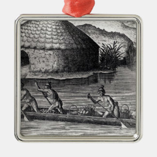 Florida Indians Storing their Crops Silver-Colored Square Decoration