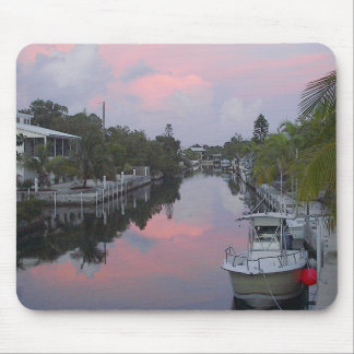 Florida Keys Canal Sunset Mouse Pads