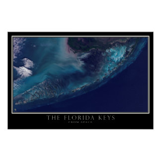 Florida Keys From Space Satellite Map Poster