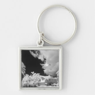 Florida Keys house and its palm trees, USA. Silver-Colored Square Key Ring