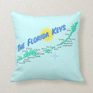Florida Keys Map retro illustration Cushion