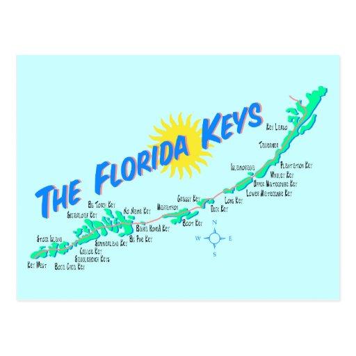 Florida Keys Map retro illustration Postcards