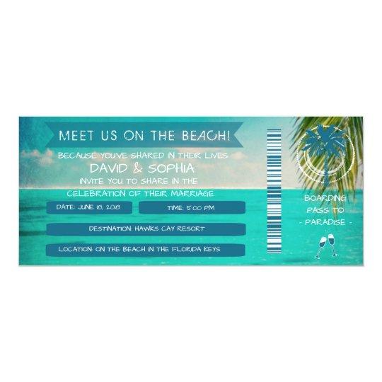 Florida Keys On the Beach Wedding Boarding Pass