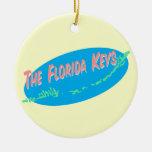 Florida Keys retro map art Round Ceramic Decoration