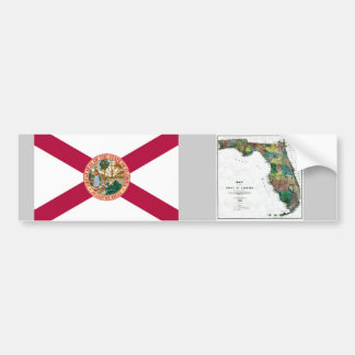 Florida Map and State Flag Bumper Sticker