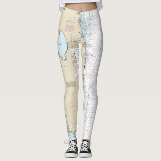 Florida Nautical Chart Canaveral to Key West Leggings