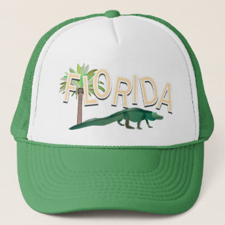 Florida Palm Tree And Alligator Trucker Hat