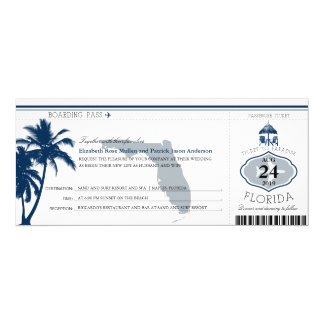 Florida Palm Tree Boarding Pass Wedding Card