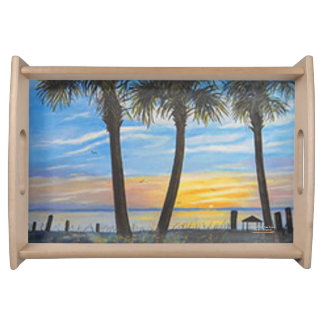 FLORIDA PALM TREE SUNSET SERVING TRAY
