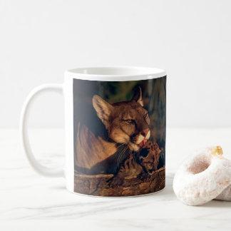 Florida panther licking cub coffee mug