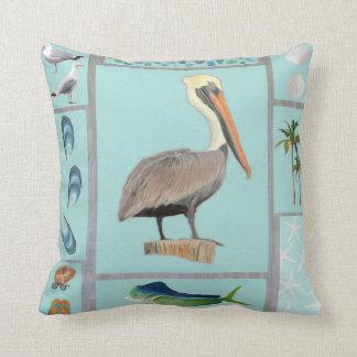 Florida Pelican Motif Cushion