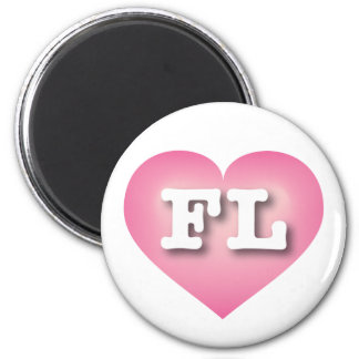 Florida Pink Fade Heart - Big Love 6 Cm Round Magnet