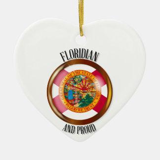 Florida Proud Flag Button Ceramic Heart Decoration