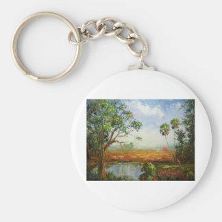 Florida Ranch Painting Basic Round Button Key Ring