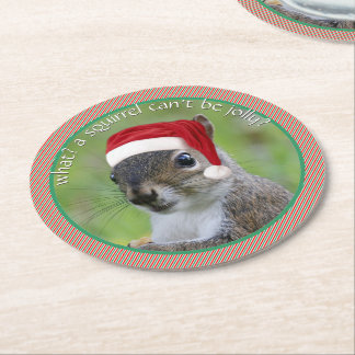 Florida Santa Squirrel™ Hit of Holiday Parties Round Paper Coaster