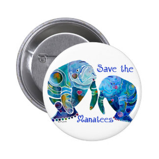 Florida Save the Manatees in Vivid Blues 6 Cm Round Badge