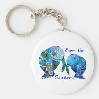 Florida Save the Manatees in Vivid Blues Basic Round Button Key Ring