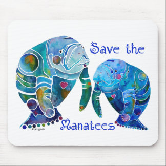 Florida Save the Manatees in Vivid Blues Mousepads