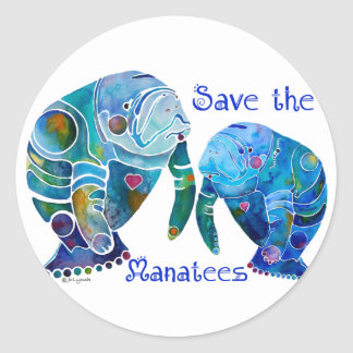 Florida Save the Manatees in Vivid Blues Round Sticker
