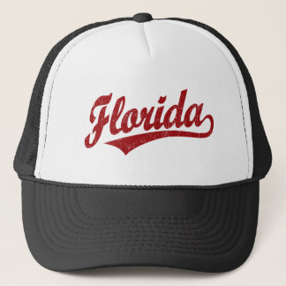 Florida script logo in red trucker hat