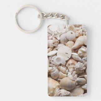 Florida Sea Shell Background - Beach Shells Custom Key Ring