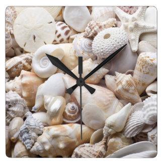 Florida Sea Shell Background - Beach Shells Custom Square Wall Clock