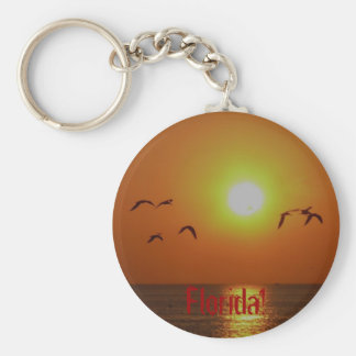 Florida! Seagulls in Gulf Sunset Basic Round Button Key Ring