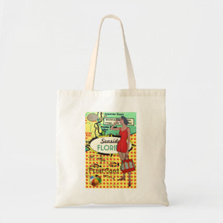 Florida seaside bathing beauty retro bathing suit tote bag