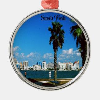 Florida Silver-Colored Round Decoration