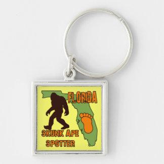 Florida Skunk Ape Spotter Silver-Colored Square Key Ring