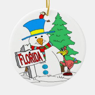 Florida Snowman Round Ceramic Decoration