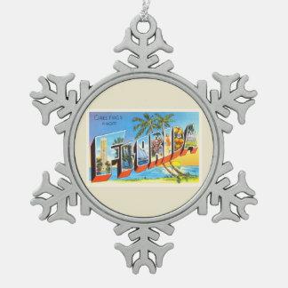 Florida State # 2 FL Old Vintage Travel Souvenir Pewter Snowflake Decoration