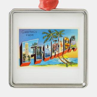 Florida State # 2 FL Old Vintage Travel Souvenir Silver-Colored Square Decoration
