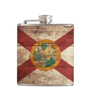 Florida State Flag on Old Wood Grain Hip Flask