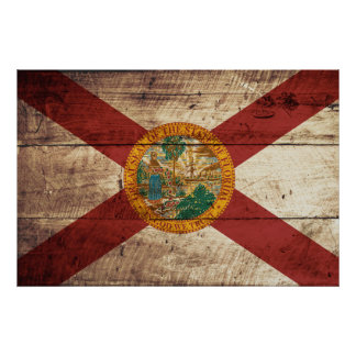 Florida State Flag on Old Wood Grain Poster