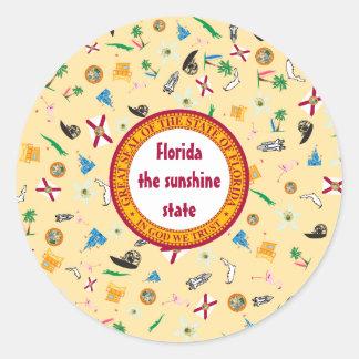 Florida state icons- sunshine state round sticker