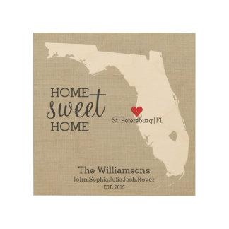 Florida State Map Custom Family Name Established Wood Print