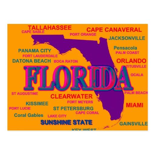 Florida State Pride Map Silhouette Postcards