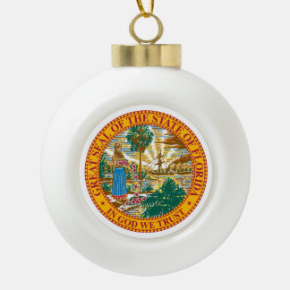 Florida State Seal - Ceramic Ball Christmas Ornament