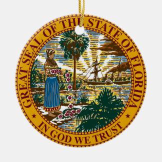 Florida State Seal Round Ceramic Decoration