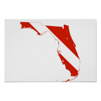 Florida State Silhouette Diving Flag Poster