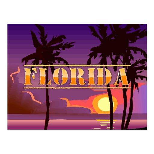 Florida Sunrise and Palm Trees Beach Postcard