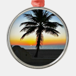 Florida Sunrise with Palm Tree Christmas Ornament