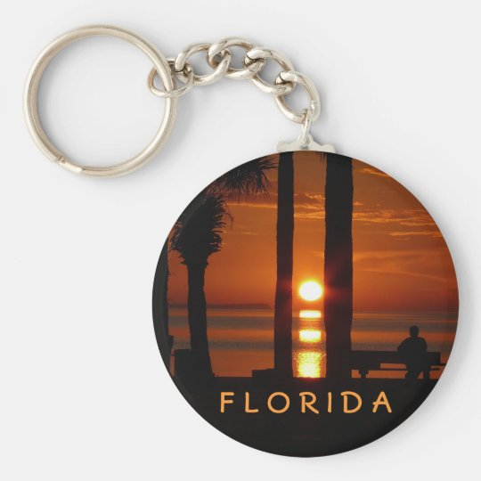 Florida Sunset Basic Round Button Key Ring