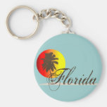 Florida Sunset Basic Round Button Key Ring