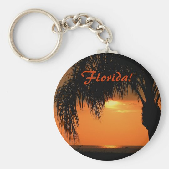 Florida! Sunset ove the Gulf, Palm Tree Basic Round Button Key Ring