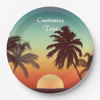 Florida Sunset Paper Plate