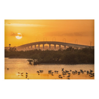 Florida Sunset Travel Photography - Titusville Wood Wall Art